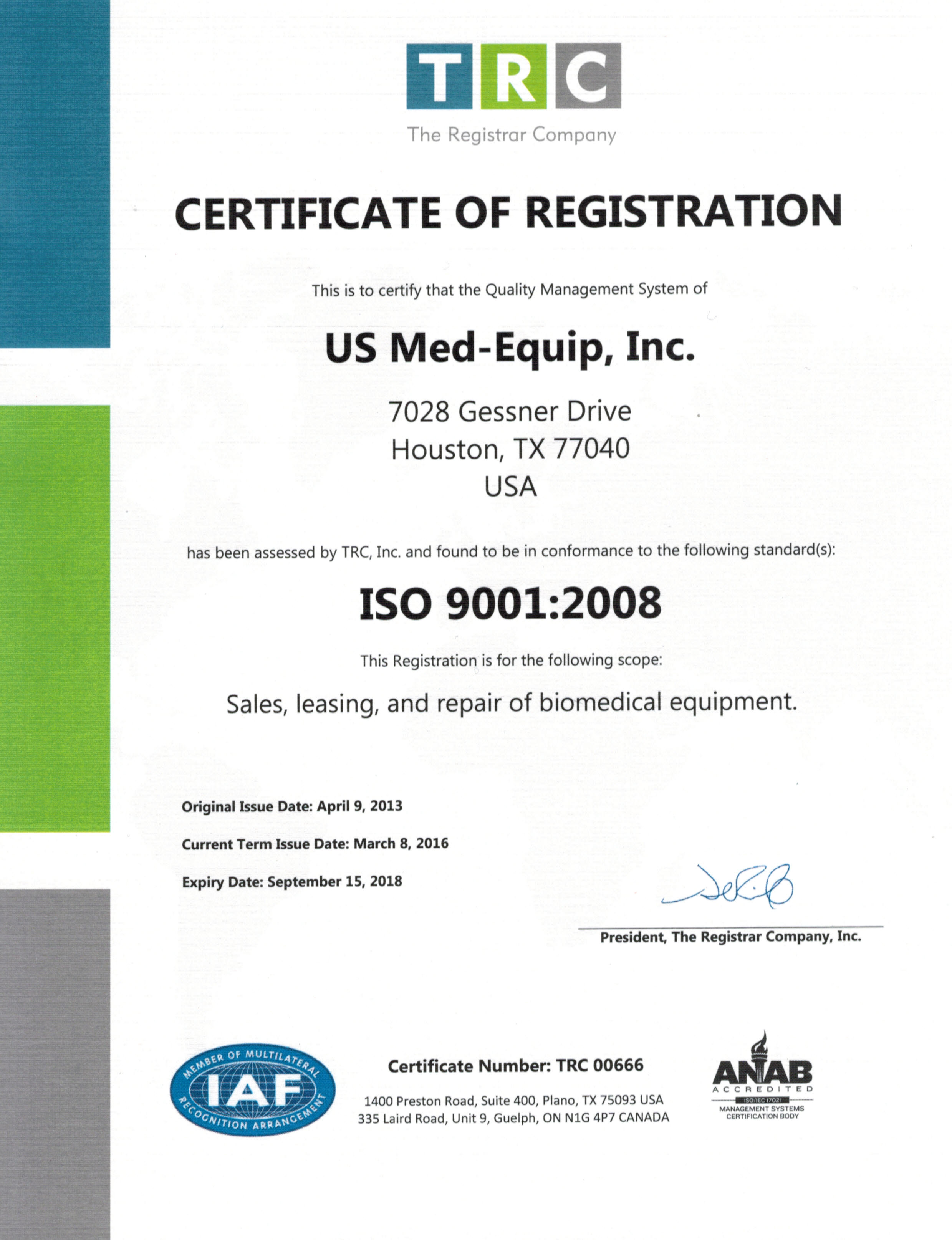 Iso 90012008 certified us med equipus med equip since 2013 us med equip has been certified under the strict standards of the iso 90012008 program for our medical equipment management processing system xflitez Choice Image